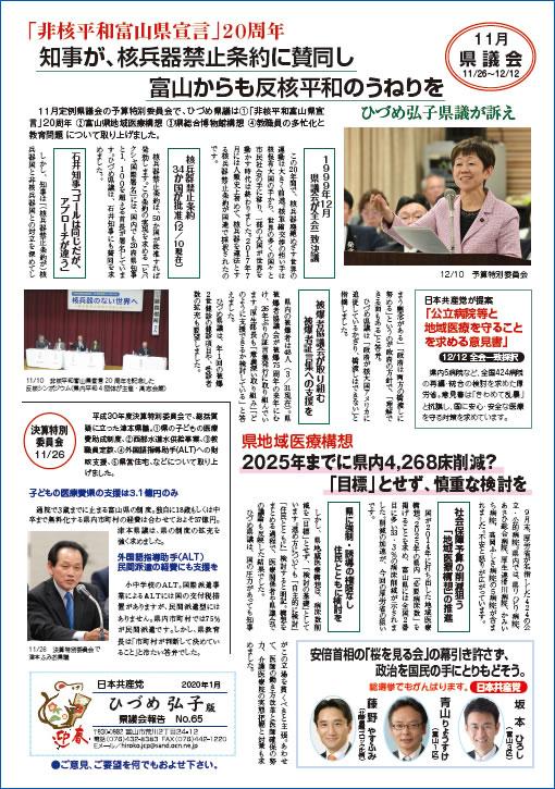 県議会報告(No.65)表面